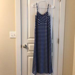NWOT Faded Glory Blue Striped Maxi Dress Size M